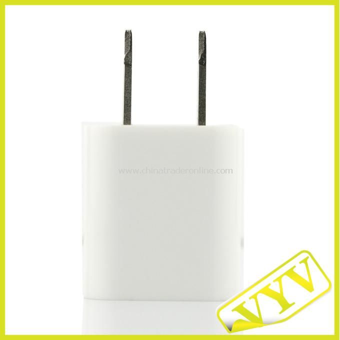Ultra-Mini 1000mA USB Power Adapter/Charger-White (100~240V AC)
