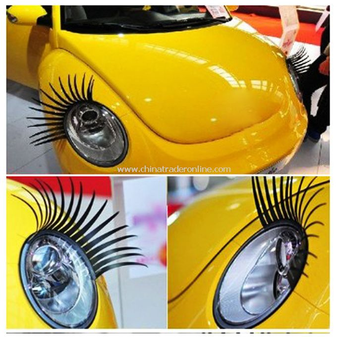 Fashion Car Eyelashes PVC Logo Stickers Lashes Decal Accessories from China