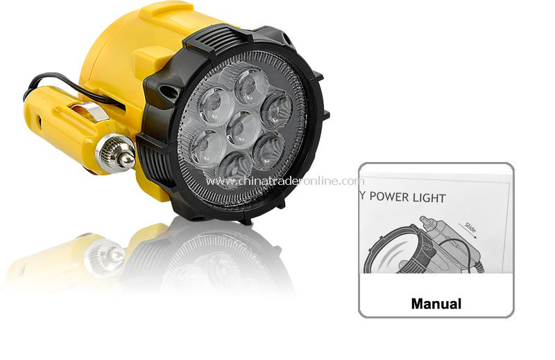 LED Flashlight - 7 LED, 12V Car Cigarette Charger, Magnetic Base