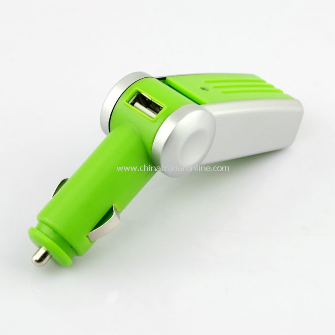 Rotatable Air Purifier Cleaner USB 2.0 Port Car Charger Green