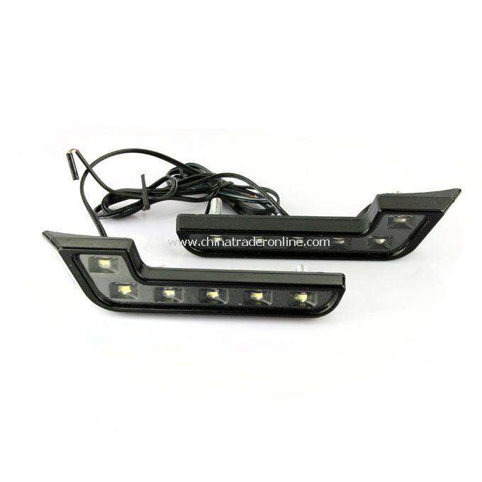 12V Car White L 6 LED DRL Daytime Running Fog Head Light Lamp