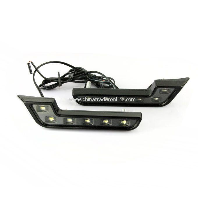 12V Car White L 6 LED DRL Daytime Running Fog Head Light Lamp