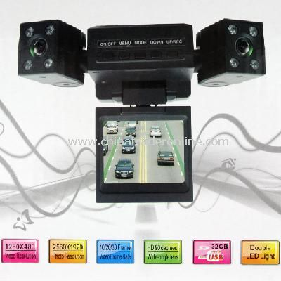 Mini Dual Rotatable Lens Vehicle Camera Car Black Box DVR Dashboard from China