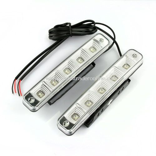 New 2X Car 5 LED DRL Driving Daytime Running Day LED Light Head Lamp Super White