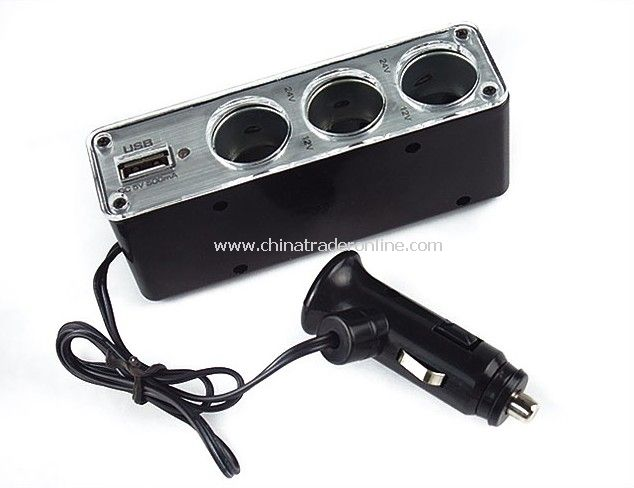 1 to 3 Triple Car Cigarette Lighter Power Splitter with USB Port