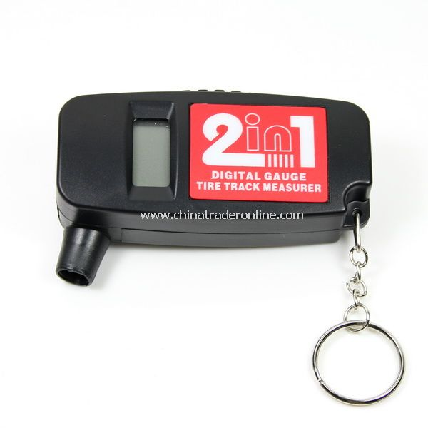 2-in-1 Bar PSI Digital LCD Car Wheel Tire Air Pressure Gauge with Tread Depth Gauge