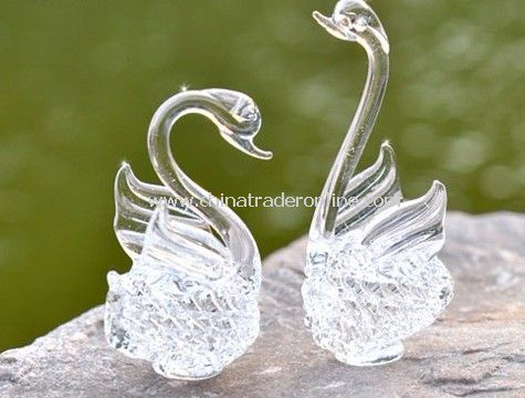 Love of Swan crystal glass crafts 1 pair