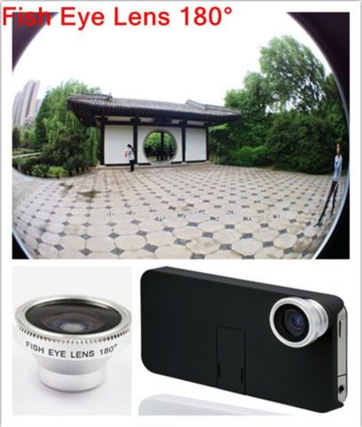 180° Wide Fish Eye Lens + Back Cover for iPhone 4