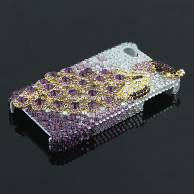 3D Peacock Rhinestone Case Cover Protector for Apple iPhone 4G 4S New