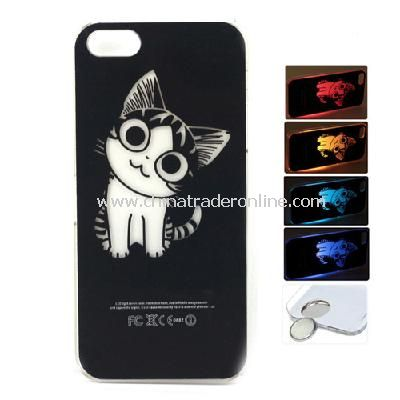 Cat Style Flasher LED Color Changed Protector Case for iPhone 5 (Flash While Calling or Called)