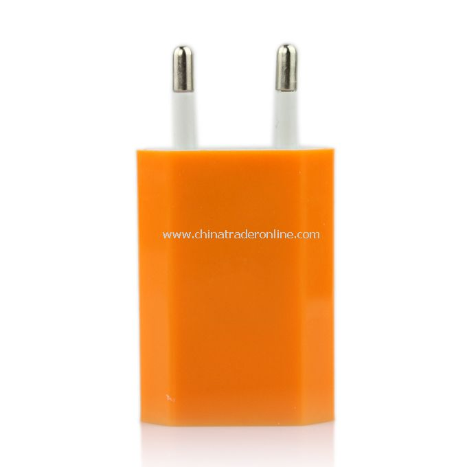 EU AC to USB Power Charger Adapter Plug for iPod iPhone Orange
