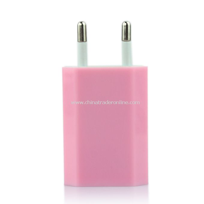 EU AC to USB Power Charger Adapter Plug for iPod iPhone Pink