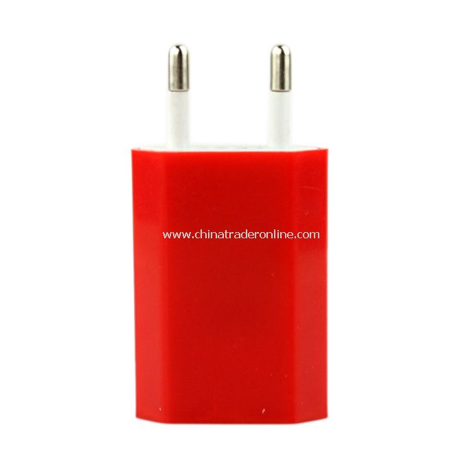 EU AC to USB Power Charger Adapter Plug for iPod iPhone Red