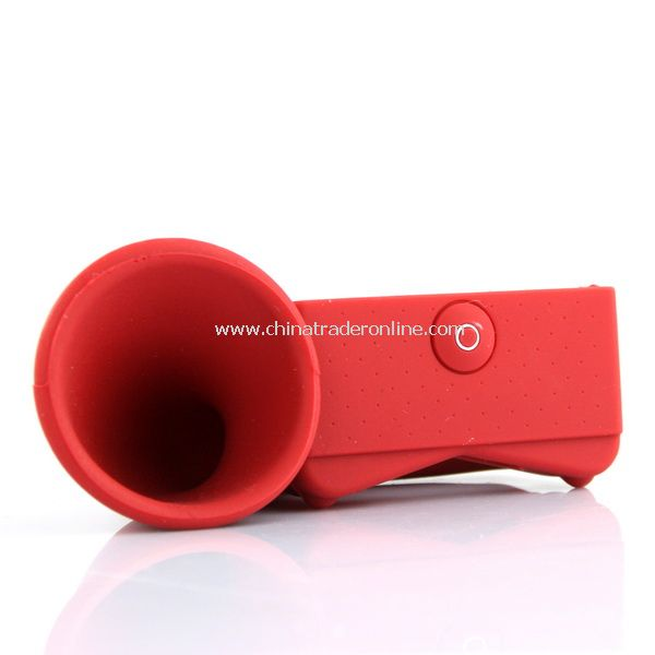 Silicone Horn Stand Amplifier Speaker for iPhone 4G RED
