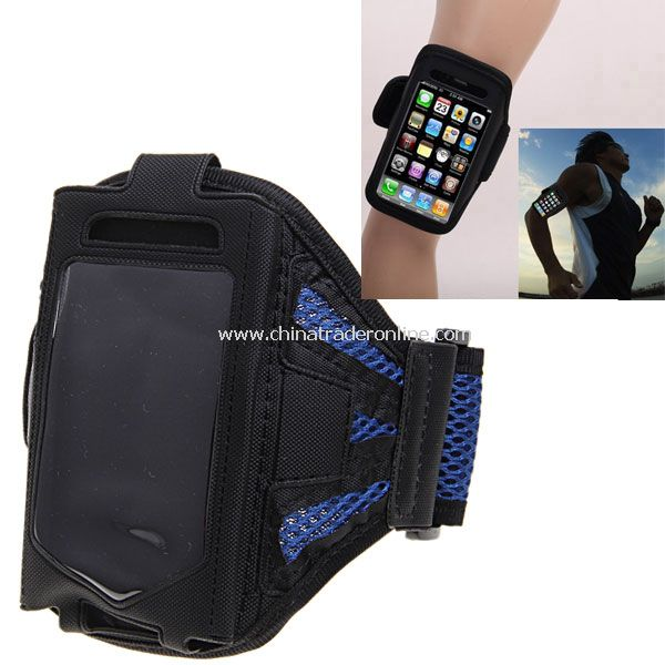 Stylish Reticular Sports Armband Pouch Case Arm Strap Holder for iPhone 4 4S - Blue