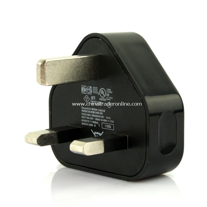 UK AC to USB Power Charger Adapter Plug for iPod iPhone Black