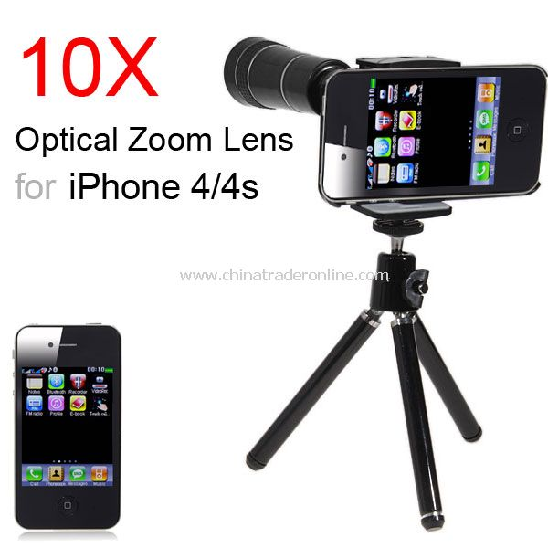 10X Optical Zoom Telescope Camera Lens + Tripod for iPhone 4 4S from China