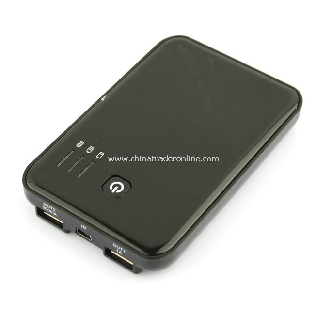 5000mAh External Battery Charger Power Bank 2 Dual USB 2A for iPad/iPhone 4