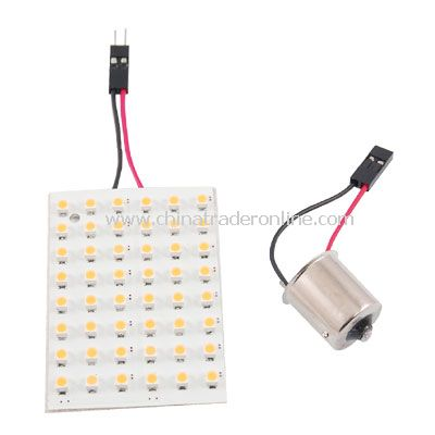 Warm White 48 LED Panel 3528 SMD Car Dome Light Lamp + BA15S 1156 Adapter