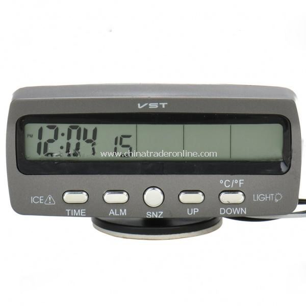 9.6  LCD Car Indoor/Outdoor Digital Temperature w/ Clock - Grey (2 x LR44 / DC 9~16V)