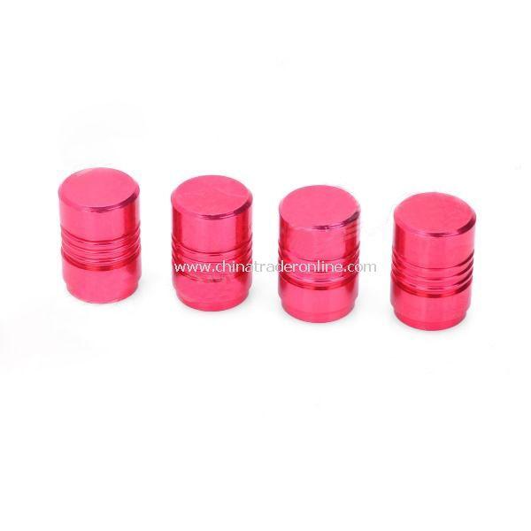 Aluminum Alloy Bike Bicycle Tyre Tire Valve Caps - Deep Pink (4-Piece)