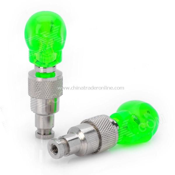 Replacement Skull Style Car Tire Valve Cap w/ 1-LED Flashing Light - Green (Pair / 3 x AG10)