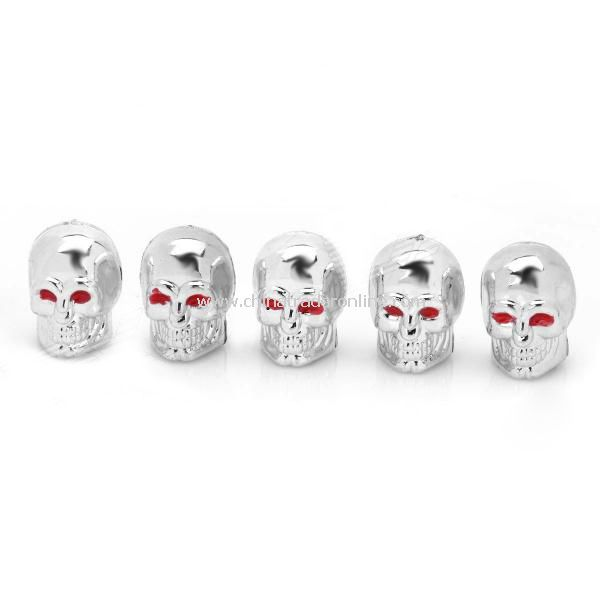 Replacement Skull Style Car Tire Valve Caps - Silver (5-Pack)