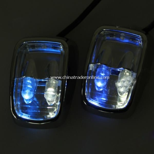 Solar-Powered White/Blue LED Car Sidelight Flashlight – Black