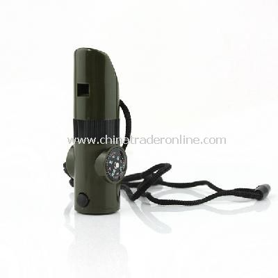 7 in 1 Survival Whistle Compass Thermometer Flashlight