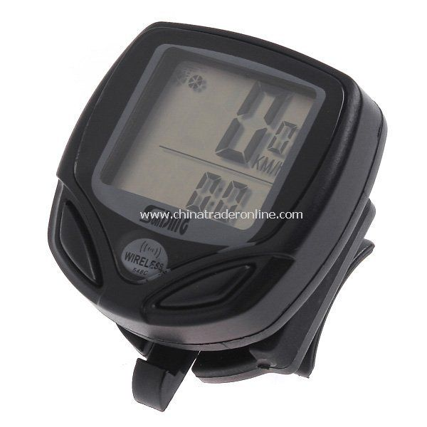Black LCD Wireless Cycle Bicycle Bike Computer Speedometer Odometer