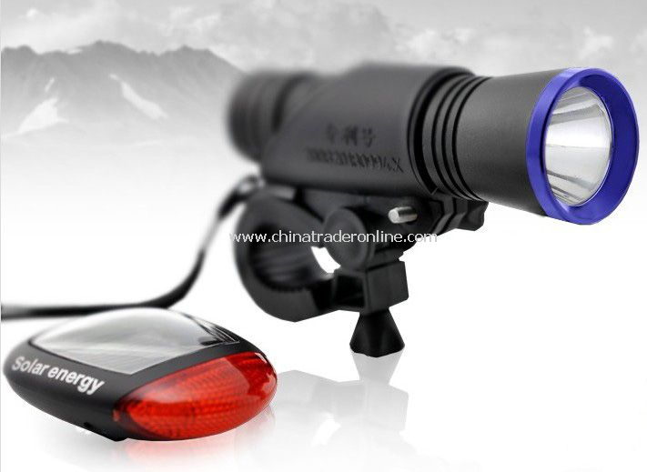 LED Bicycle Light Set with Solar Rear Light