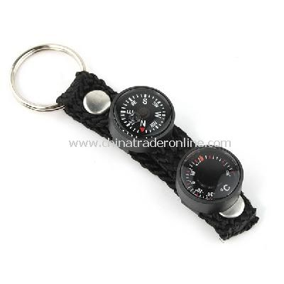 New Mini 2 in 1 Lensatic Compass Thermometer Keychain