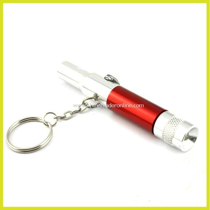 3-in-1 Whistle + Compass + LED Flashlight White Light with Keychain (4*LR41 Batteries)