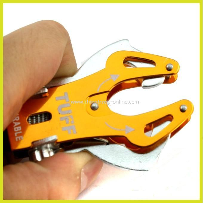 Pliers Style Aluminium Alloy Carabiner Clip Climb Hook Lock With Double Keyrings For Outdoors