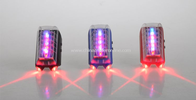 Blue Ultra Bright 6 LED LASER BIKE REAR SAFETY TAIL LIGHT w. Rechargeable Battery