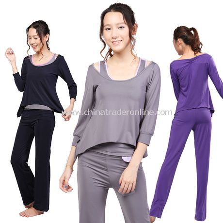 Polyester Round Neck Women Yoga Clothing Set 3Pcs