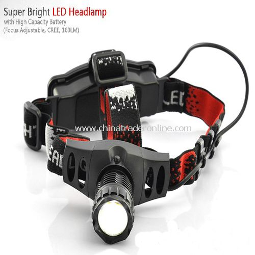 Super Bright LED Headlamp with High Capacity Battery (Adjustable Focus, 160LM) from China