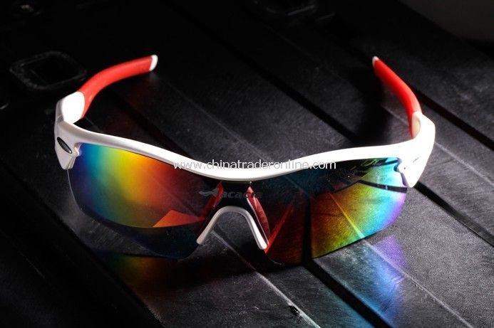 Fashion bicycle Eyewear UV400 Sports sun glasses white+red