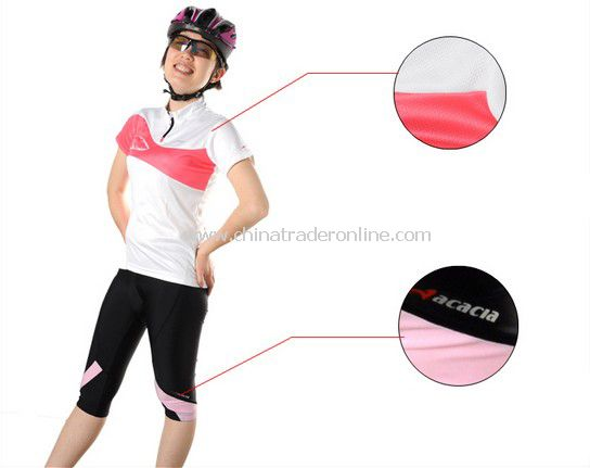 women Cycling Bicycle Suit Bike Racing Clothing Jersey+Shorts pink from China