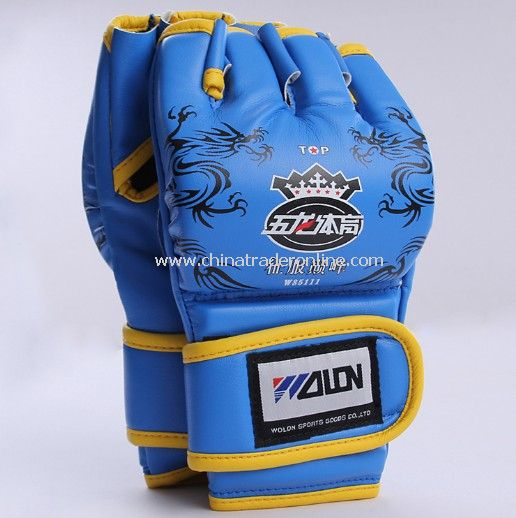Ruidiren Sports Free Combat PU Leather Exposed Fingers Boxing Gloves