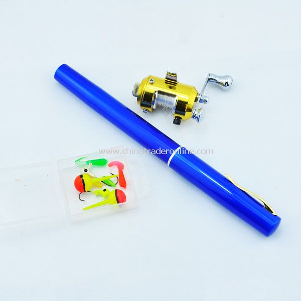 Mini pocket fishing rod Pen , fish pole,rod /1m Golden reel