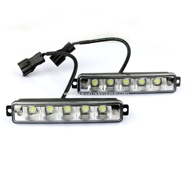 2X 5 LED White Universal Daytime Running Driving Light DRL Fog Lamp Waterproof