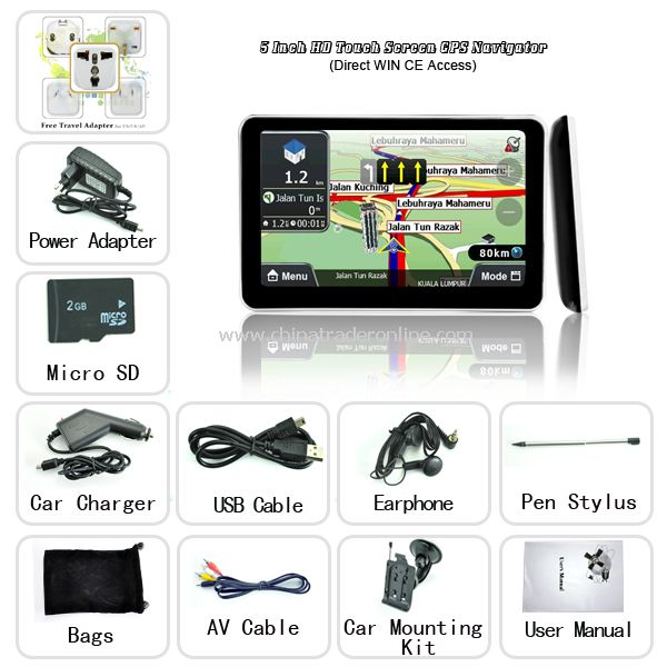 5 Inch HD Touch Screen GPS Navigator (Direct WIN CE Access)