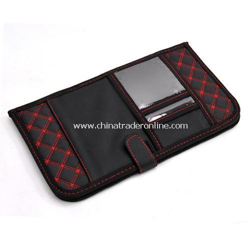 folding utility vehicle CD folder visor pouch storge black
