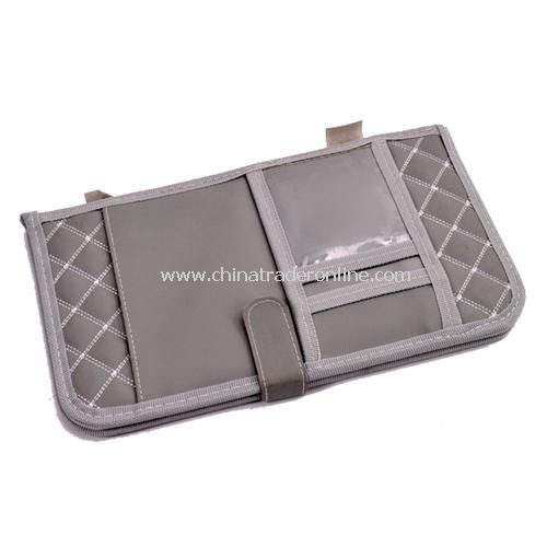 folding utility vehicle CD folder visor pouch storge gray