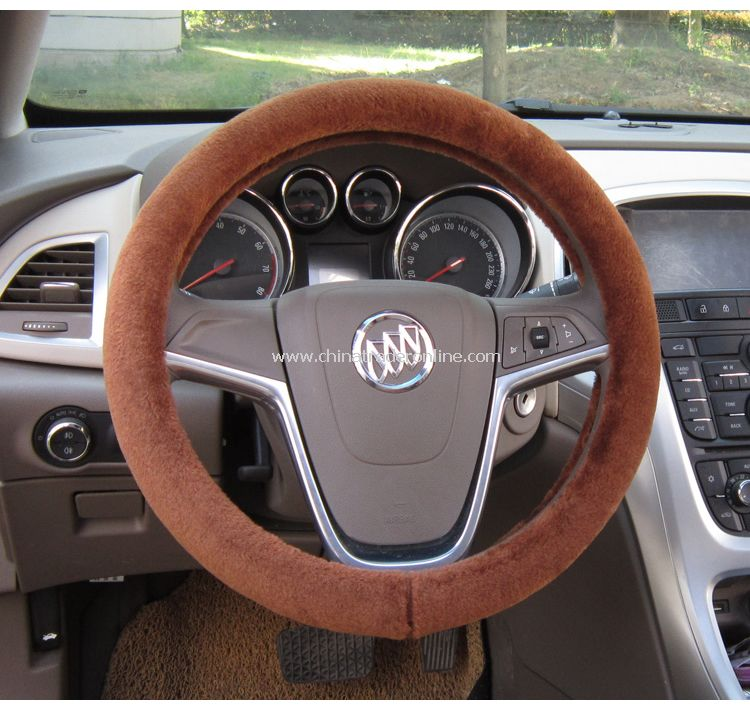 Short Plush Car Steering Wheel Cover Genuine Australia Sheepskin Lined with Rubber Ring Non-slip