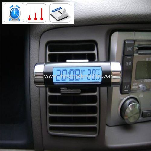 Black NEW Barrel Shaped LCD Digital Car Clock Calender