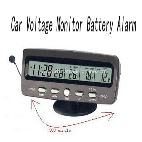 12V Car Voltage Monitor Battery Alarm / Temperature Thermometer Clock display