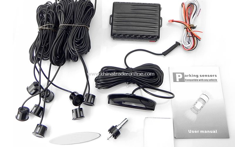 8 Sensors Parking Radar Sensor P1488B with LED Display - Black
