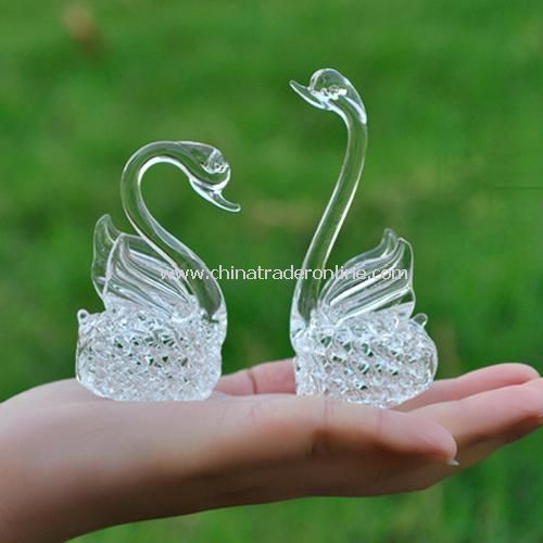 1 Pair Fashion Charming Crystal Grass Swan Birthday Gift